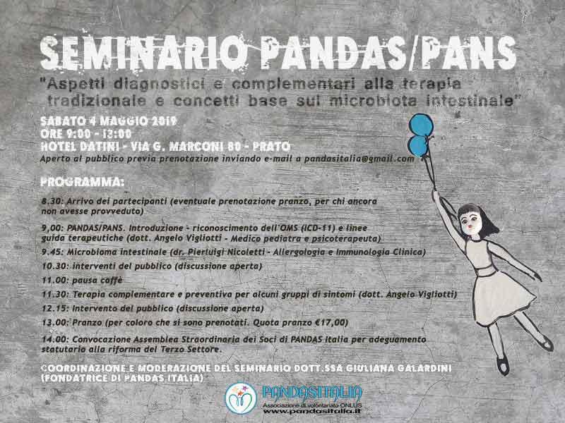"""Seminario Pandas /Pans: """"Aspetti diagnostici e complementari alla terapia tradizionasle e concetti base sul microbiota intestinale"""""""